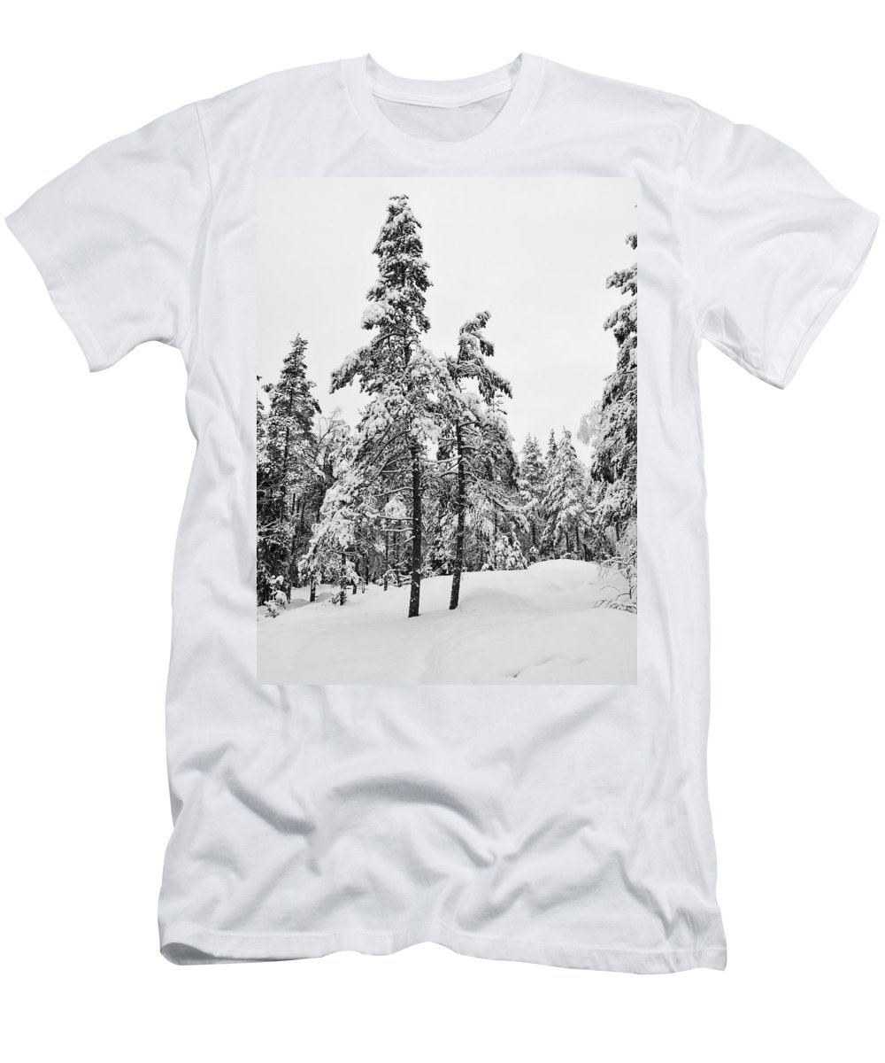 Finland Men's T-Shirt (Athletic Fit) featuring the photograph Pine Forest Winter by Jouko Lehto