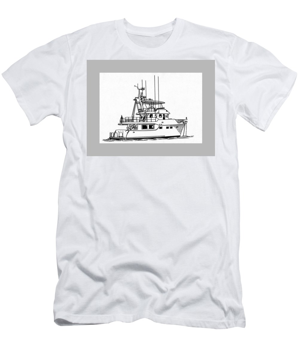 Artwork Of Yachts Men's T-Shirt (Athletic Fit) featuring the drawing 60 Foot Nordhav Grand Yacht by Jack Pumphrey