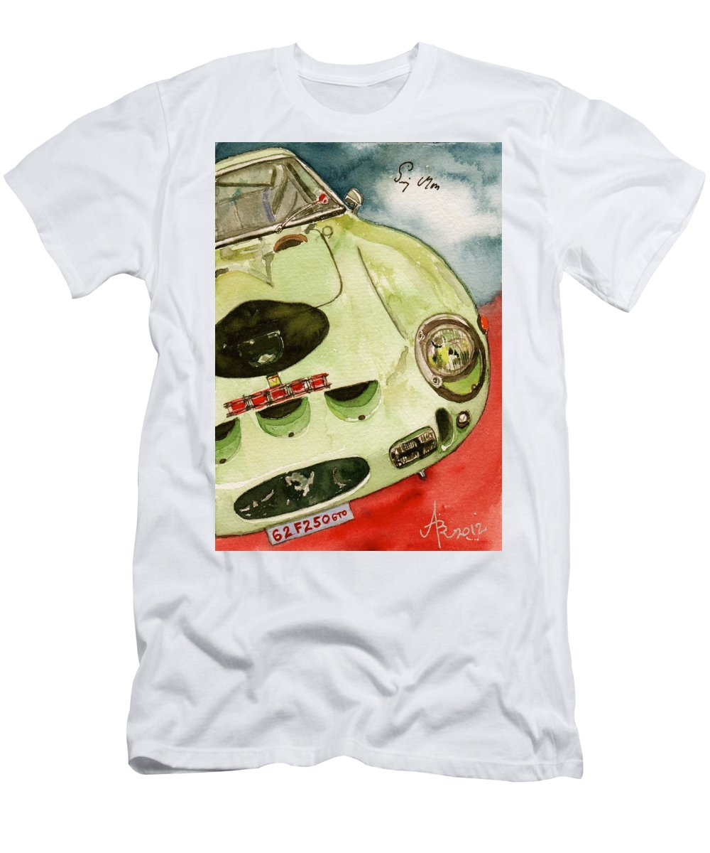 1962 Men's T-Shirt (Athletic Fit) featuring the painting 62 Ferrari 250 Gto Signed By Sir Stirling Moss by Anna Ruzsan