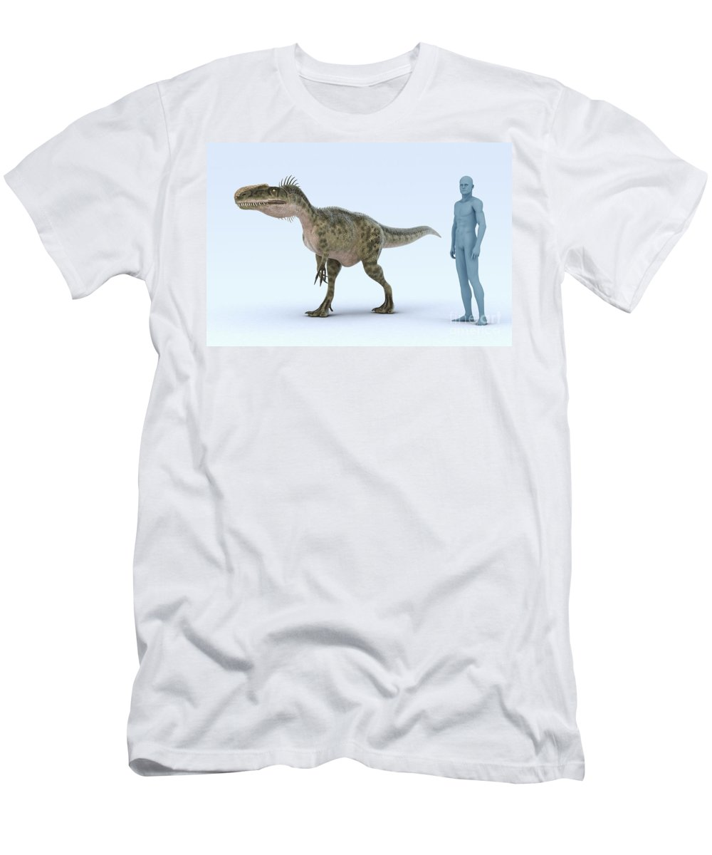 3d Visualisation Men's T-Shirt (Athletic Fit) featuring the photograph Dinosaur Monolophosaurus by Science Picture Co