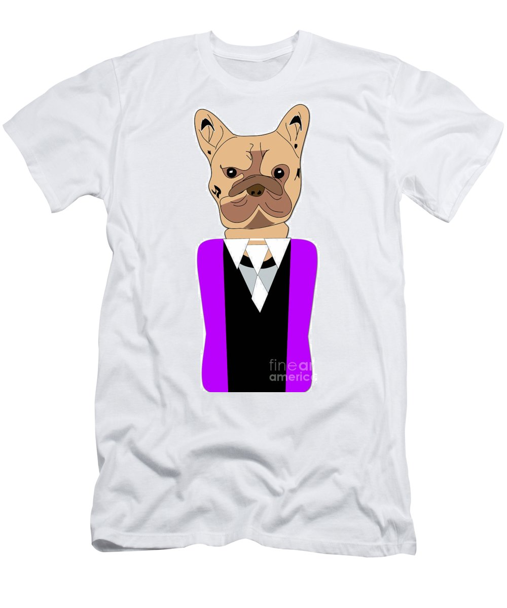 French Bulldog Paintings Mixed Media Mixed Media Men's T-Shirt (Athletic Fit) featuring the mixed media French Bulldog Painting by Marvin Blaine