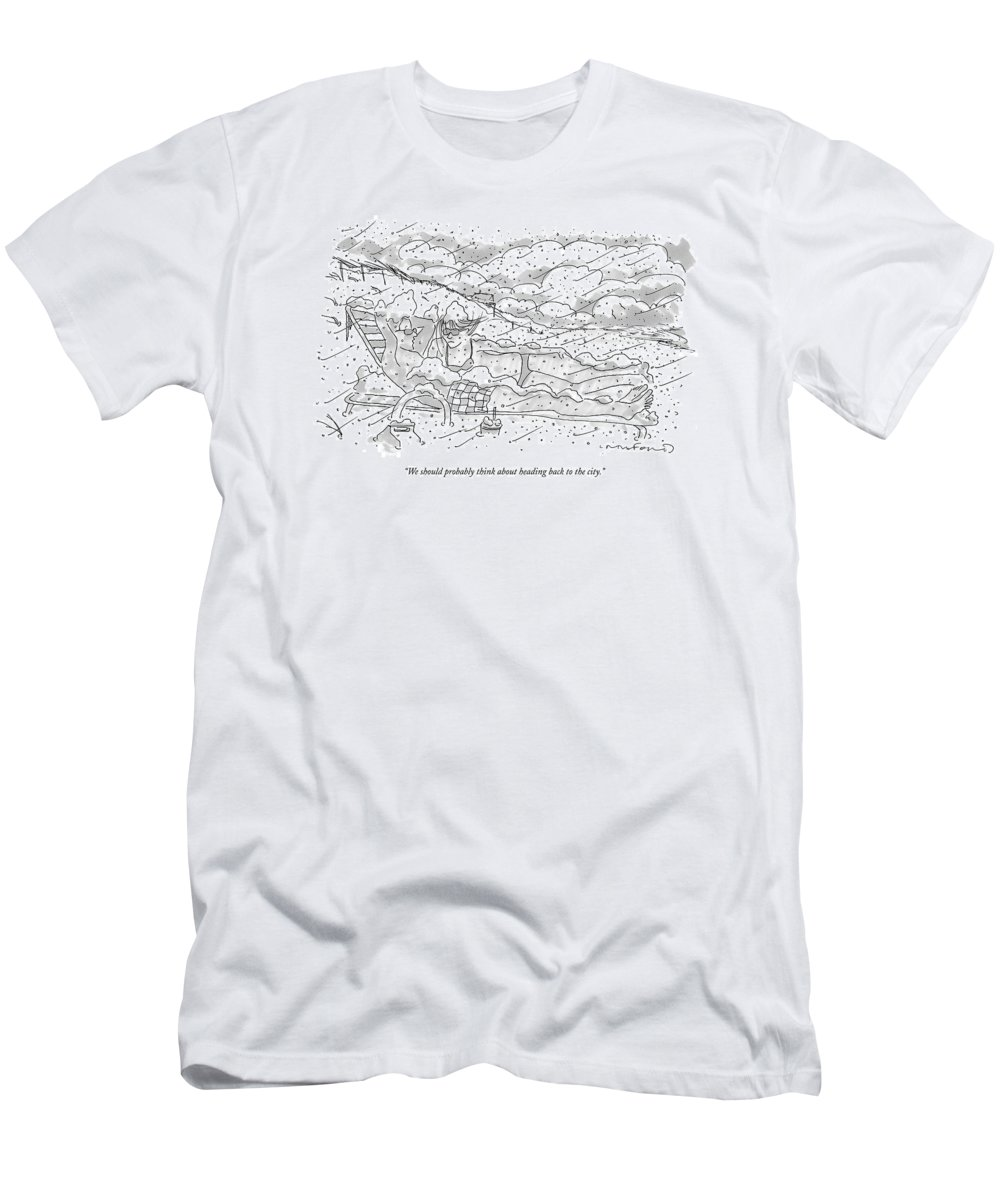 Seasons Winter Problems Vacations Leisure  (couple In Their Bathing Suits Men's T-Shirt (Athletic Fit) featuring the drawing We Should Probably Think About Heading Back by Michael Crawford