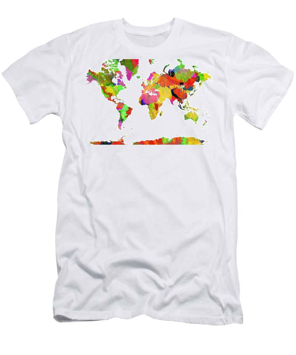Map Of The World Men's T-Shirt (Athletic Fit) featuring the digital art World Map by Marlene Watson