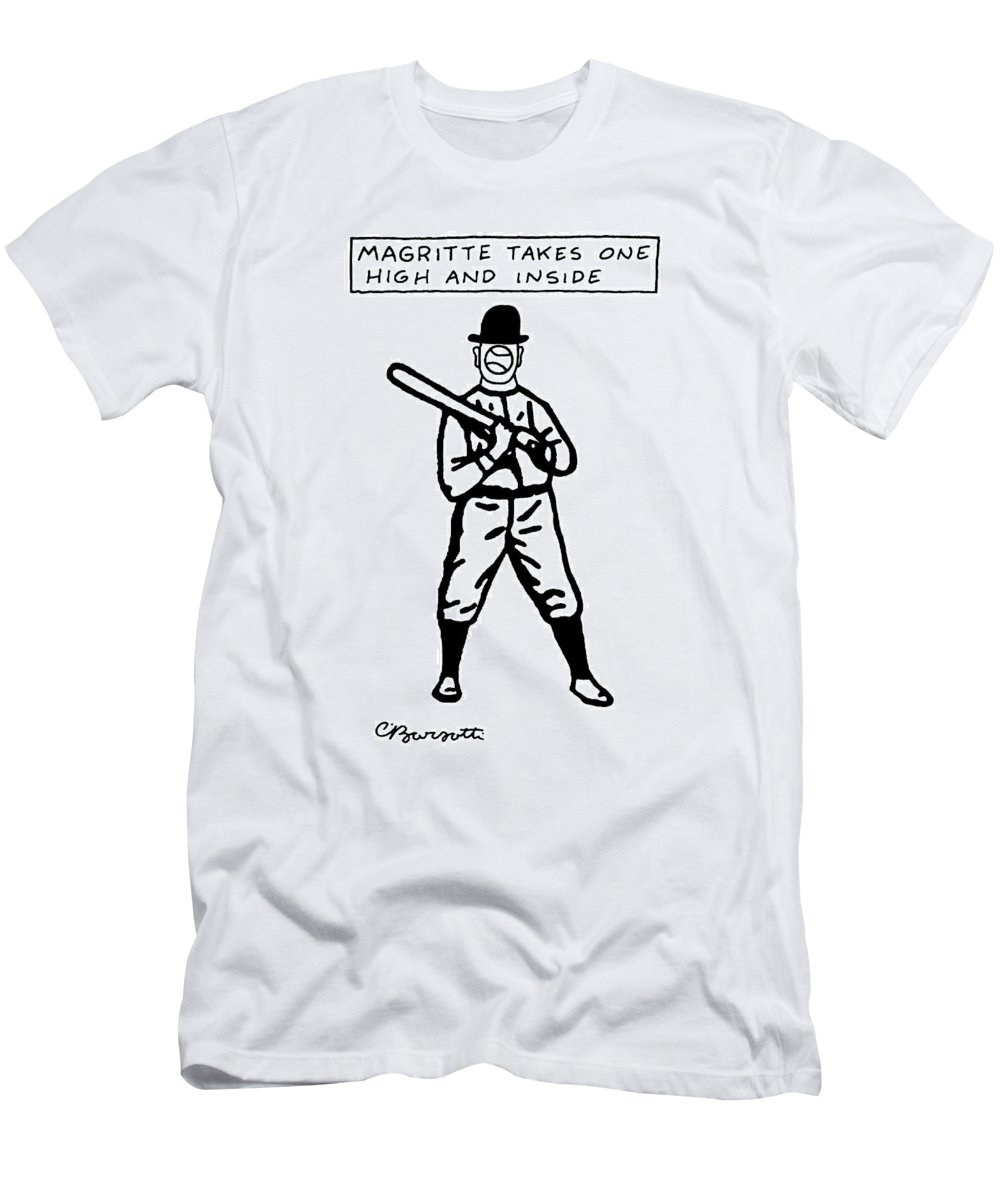 Rene Magritte Paintings Art Word Play Sports  (man In Baseball Uniform And Bowler Hat Men's T-Shirt (Athletic Fit) featuring the drawing Magritte Takes One High by Charles Barsotti
