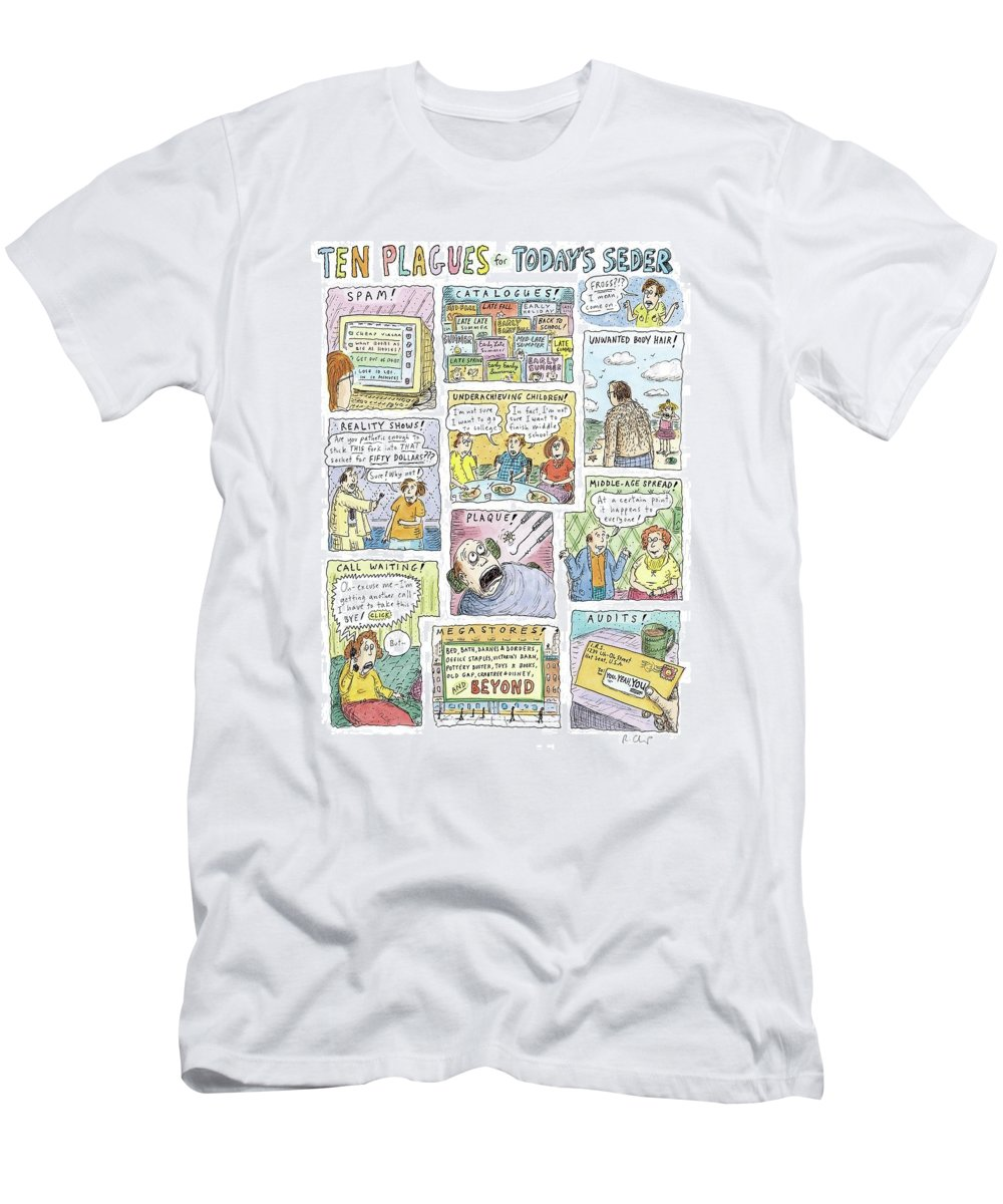 Captionless: 10 Plagues. Passover T-Shirt featuring the drawing New Yorker April 13th, 2009 by Roz Chast