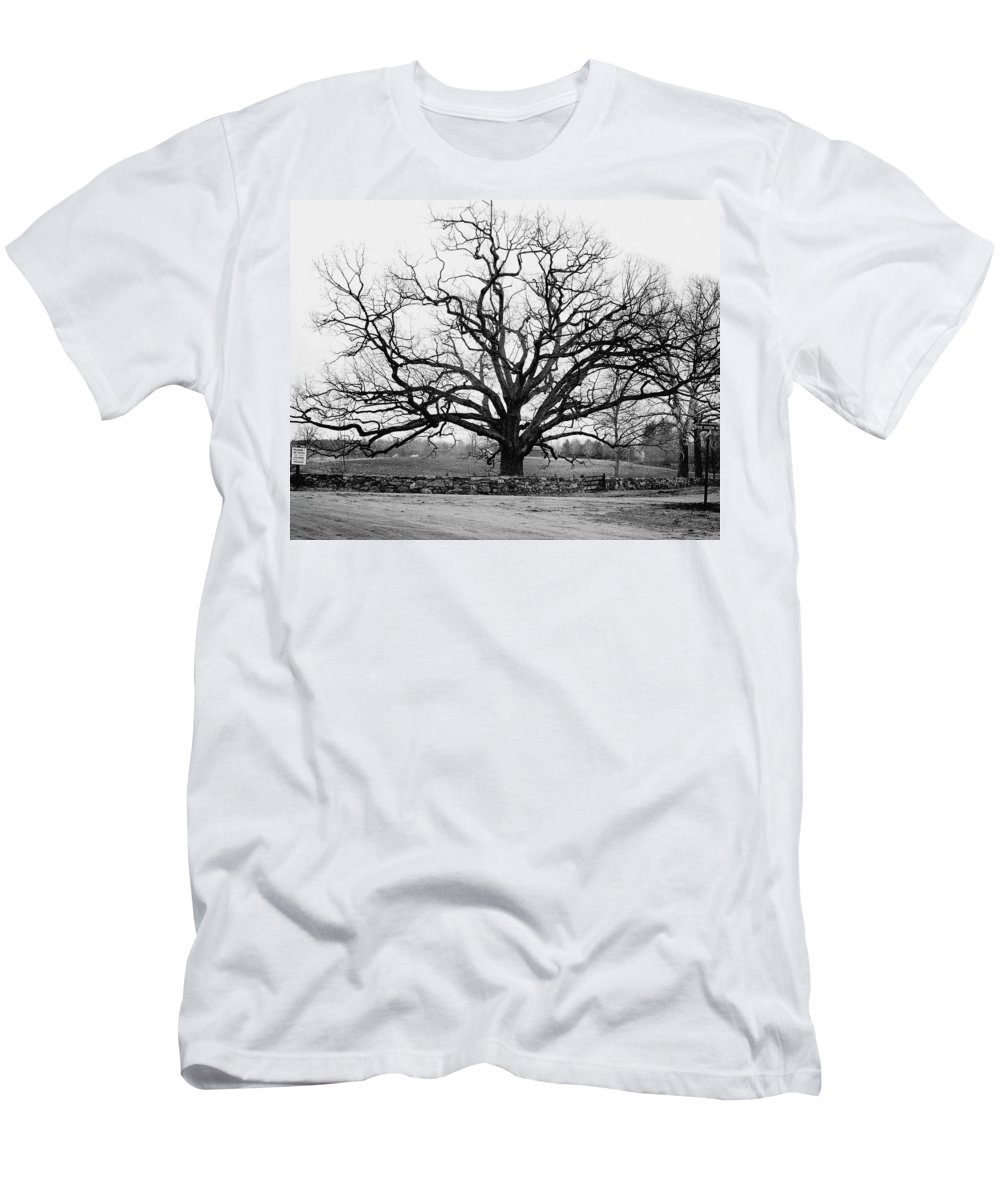 Exterior T-Shirt featuring the photograph A Bare Oak Tree by Tom Leonard