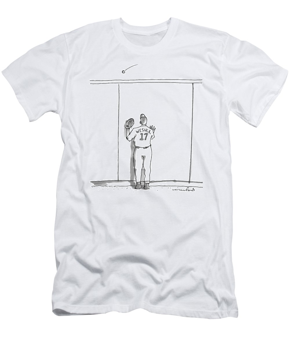 Baseball T-Shirt featuring the drawing A Baseball Player Watches A Ball Fly Over A Wall by Michael Crawford