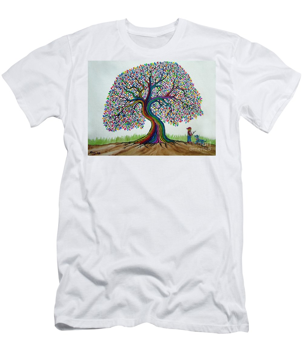 Rainbow Tree Men's T-Shirt (Athletic Fit) featuring the painting A Boy His Dog And Rainbow Tree Dreams by Nick Gustafson