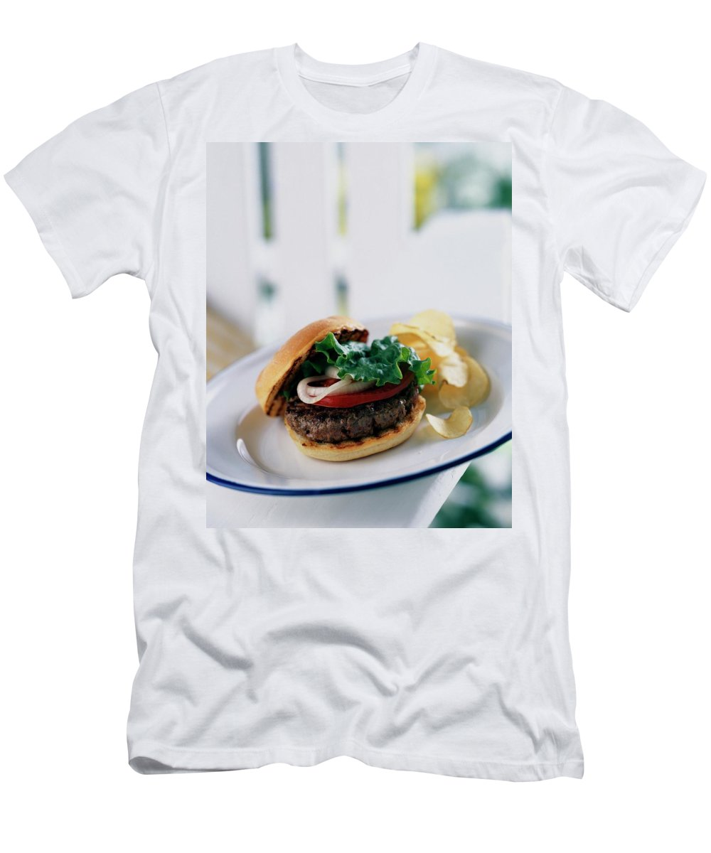 Cooking T-Shirt featuring the photograph A Burger With Potato Chips by Romulo Yanes