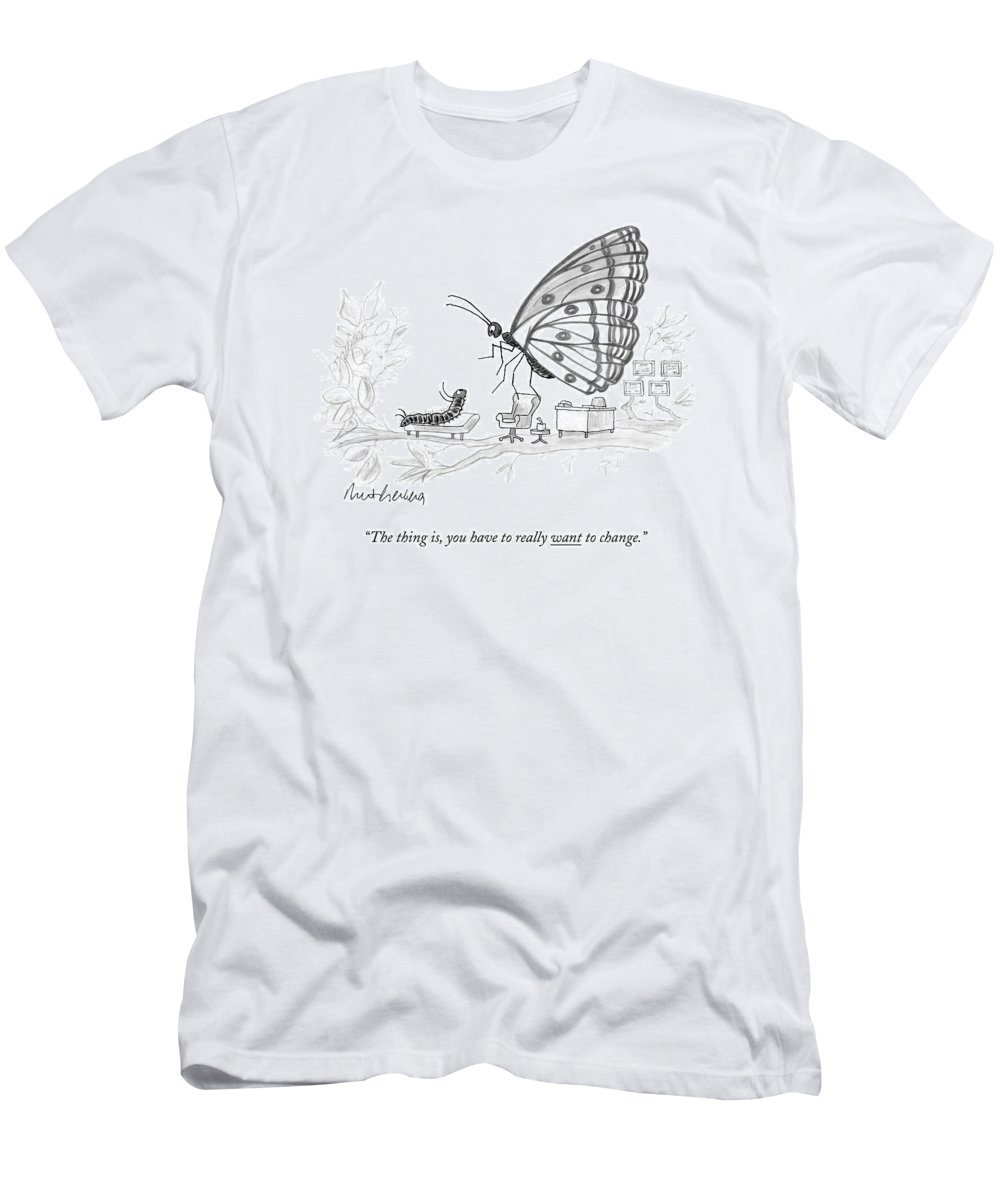 Pupate T-Shirt featuring the drawing A Butterfly Speaks To A Caterpillar by Mort Gerberg