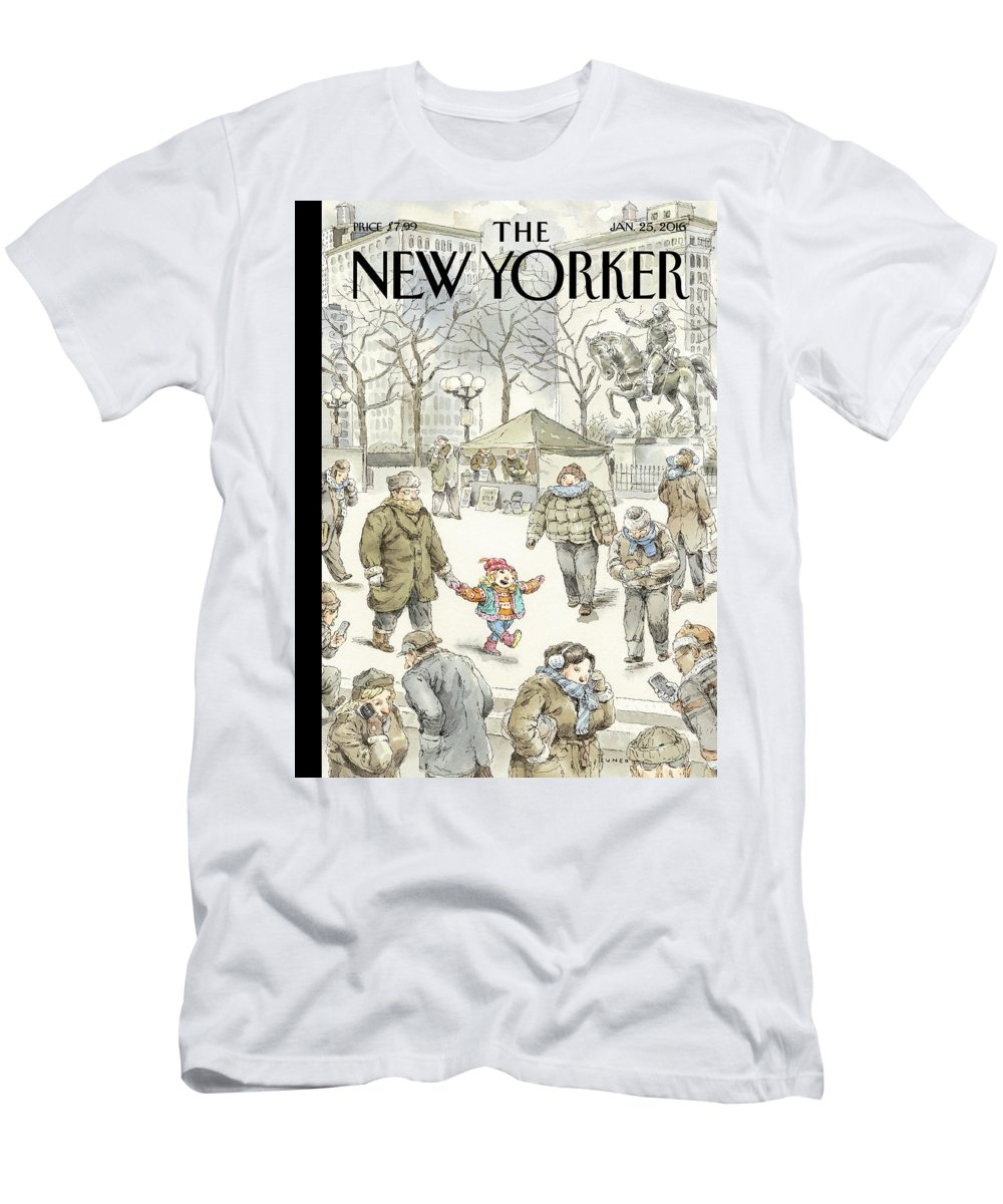 Child Men's T-Shirt (Athletic Fit) featuring the painting Winter Delight by John Cuneo