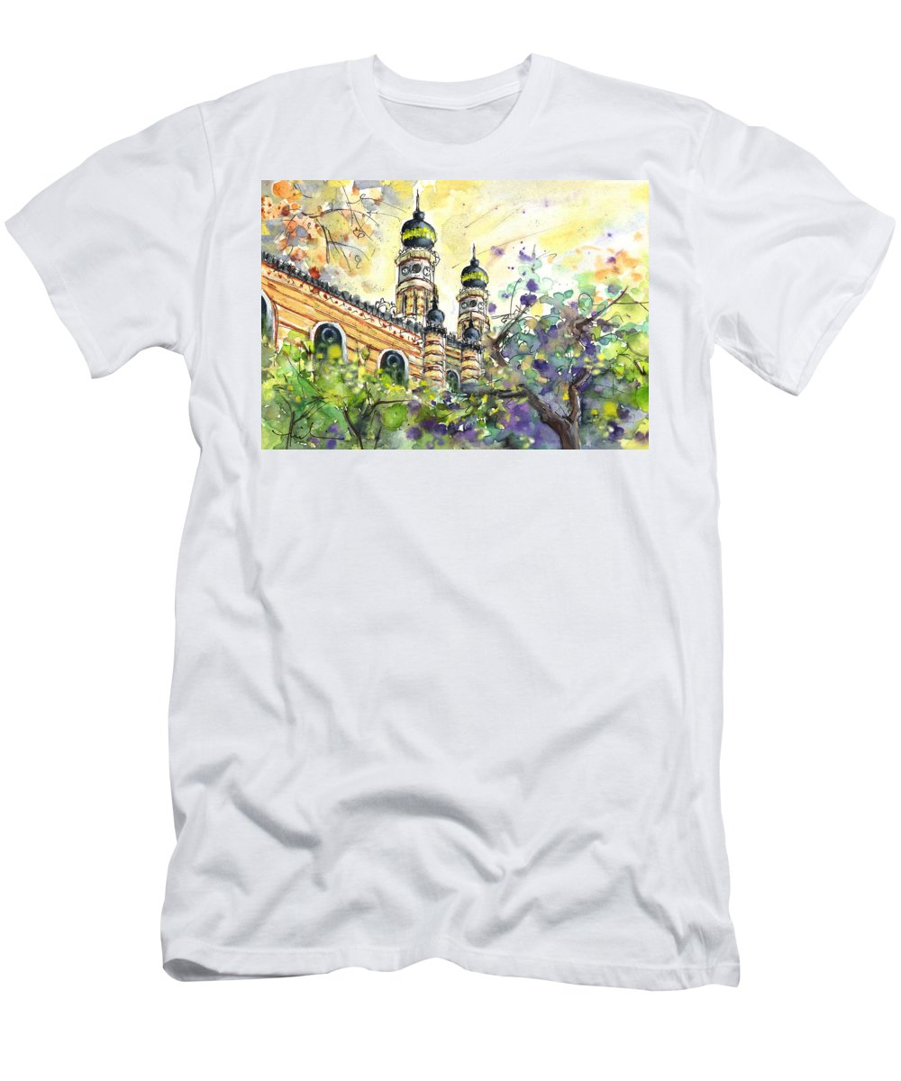 Travel Men's T-Shirt (Athletic Fit) featuring the painting A Church In Budapest 01 by Miki De Goodaboom