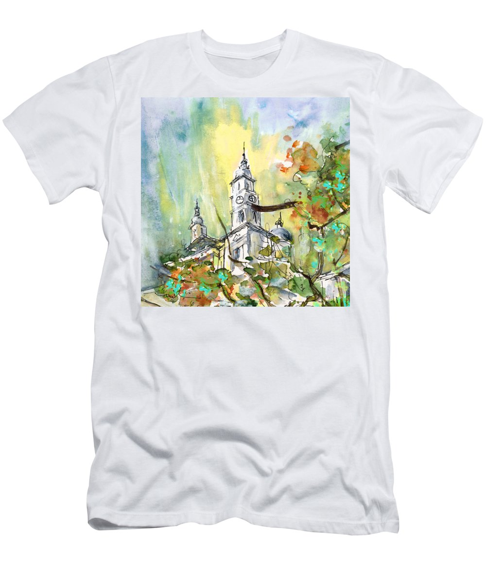 Travel Men's T-Shirt (Athletic Fit) featuring the painting A Church In Budapest 02 by Miki De Goodaboom