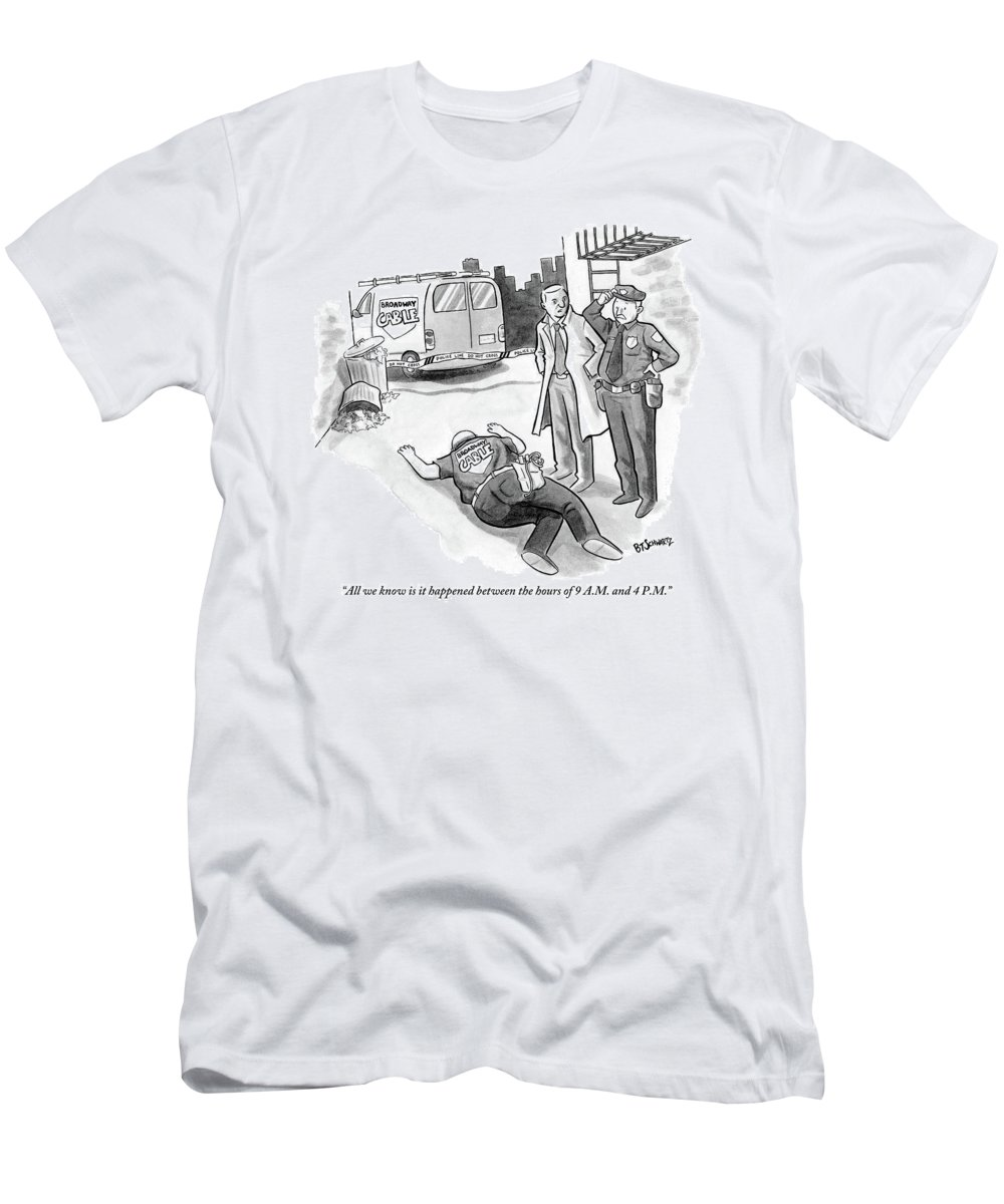 Cable T-Shirt featuring the drawing A Cop And A Detective Stand Over The Face-down by Benjamin Schwartz