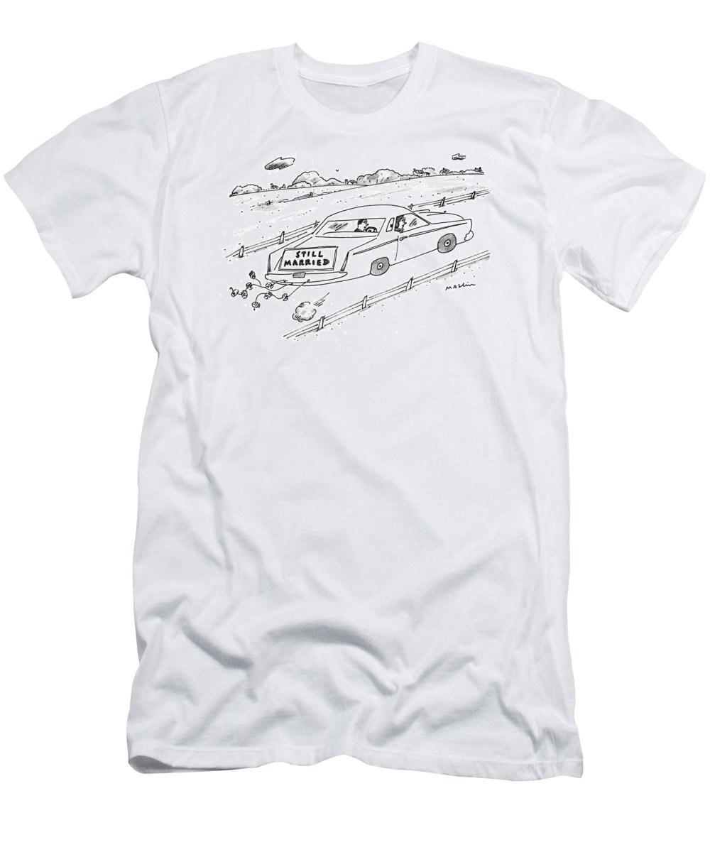 (a Couple Driving A Car With A Sign On The Back Of The Car.) Marriage Men's T-Shirt (Athletic Fit) featuring the drawing A Couple Driving A Car With A Still Married Sign by Michael Maslin