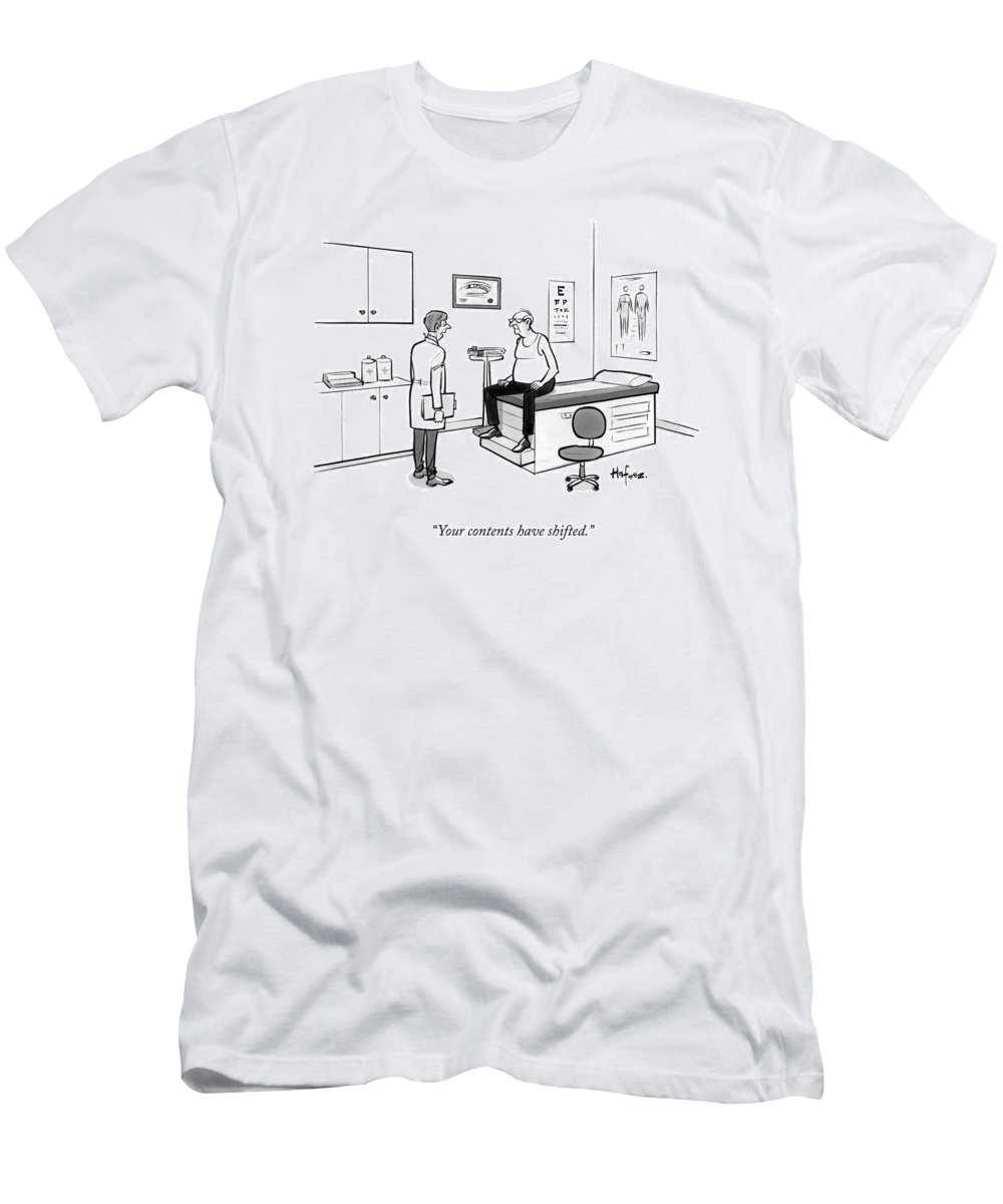 Your Contents Have Shifted. T-Shirt featuring the drawing A Doctor Talks To An Old Man With A Gut by Kaamran Hafeez