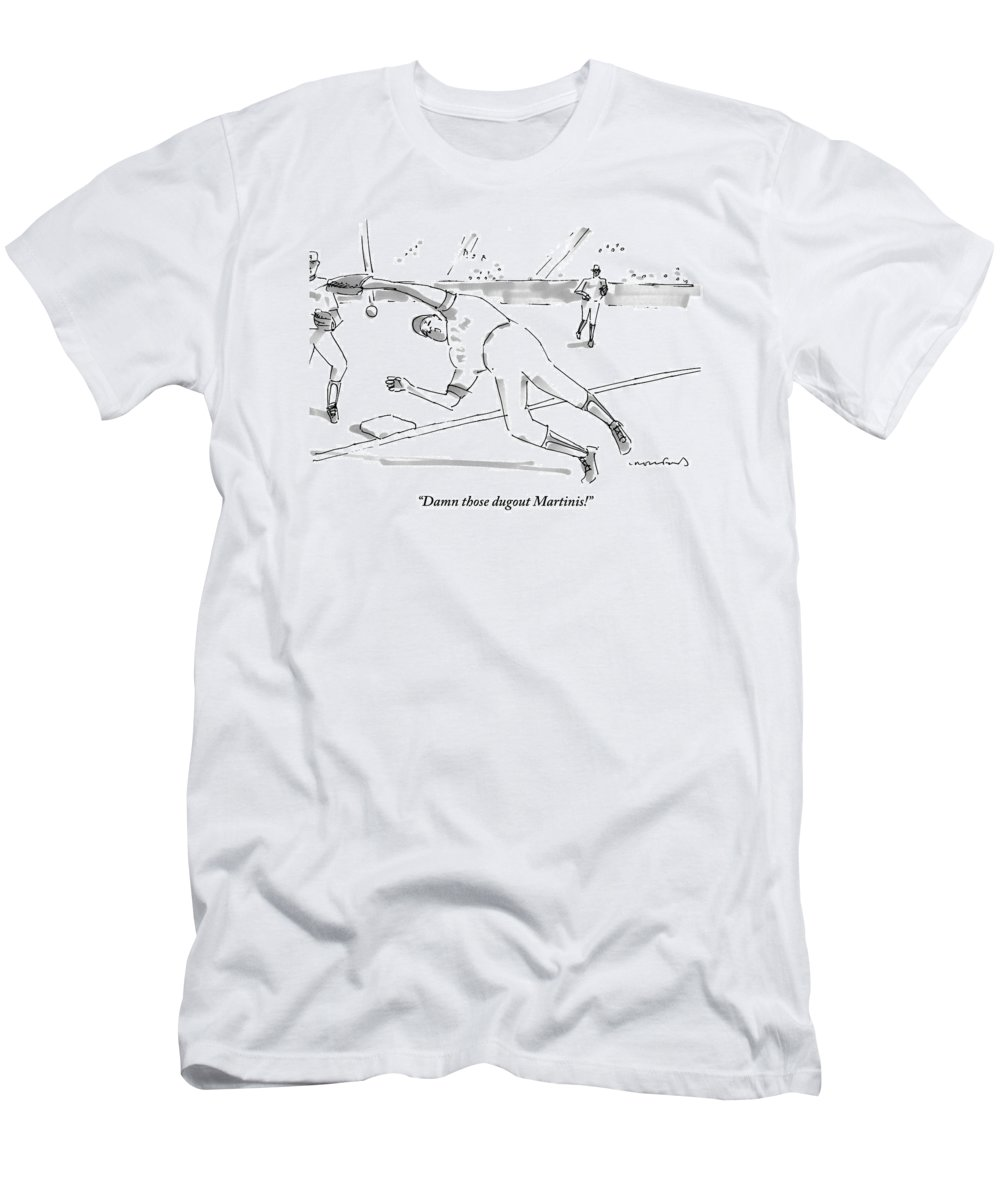 Baseball T-Shirt featuring the drawing A Falling Baseball Player Fails To Catch A Ball by Michael Crawford