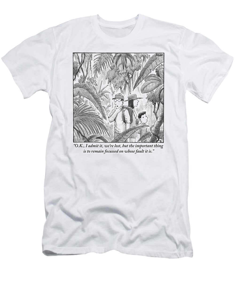 Lost T-Shirt featuring the drawing A Family Is Lost In The Depths Of A Jungle by Harry Bliss