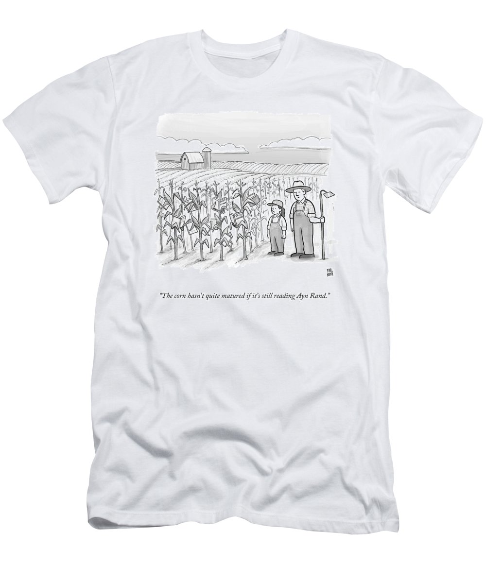 Corn Stalks T-Shirt featuring the drawing A Farmer And His Daughter Look At Cornstalks Who by Paul Noth