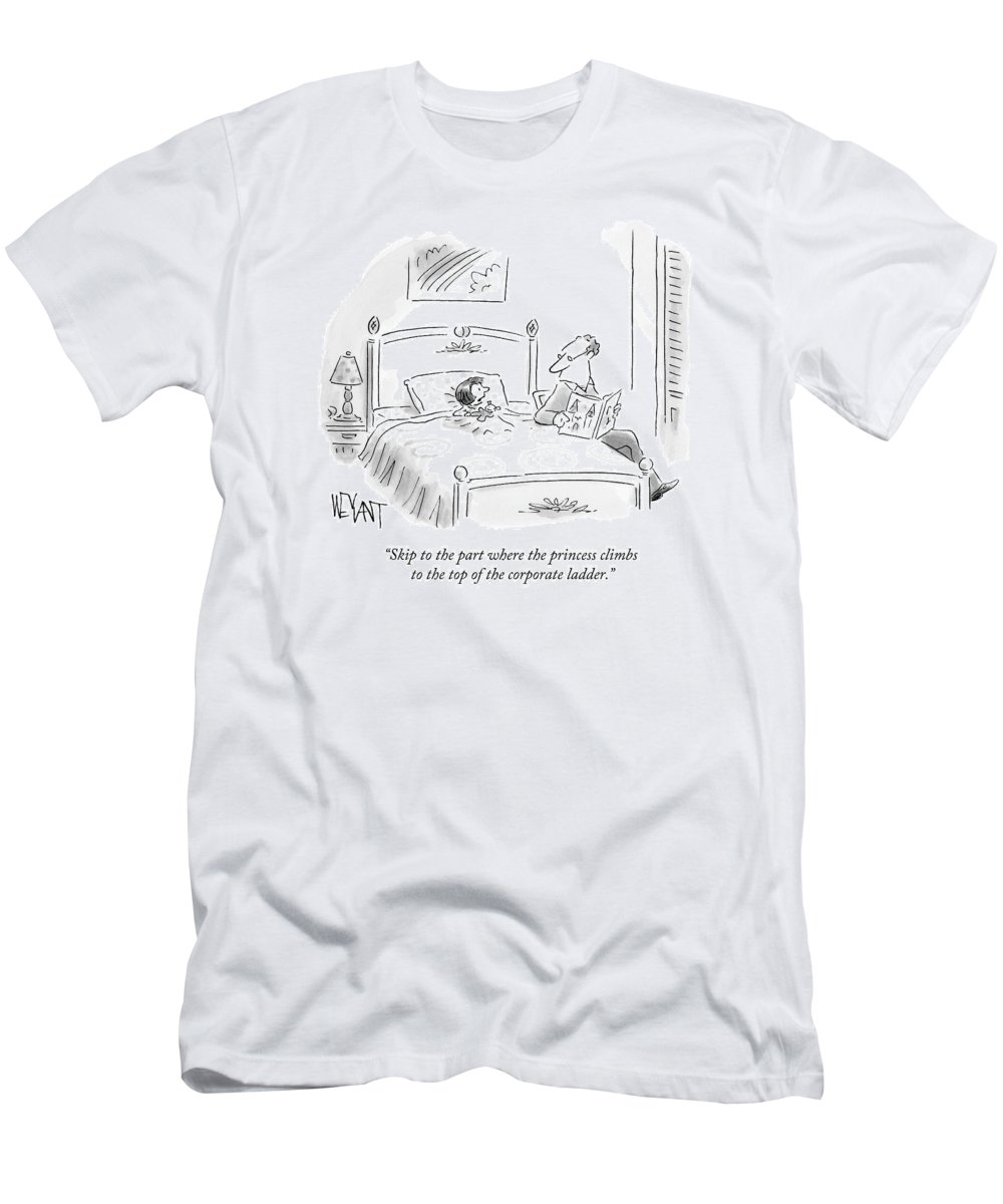Parenting T-Shirt featuring the drawing A Father Reads His Daughter A Bedtime Story by Christopher Weyant