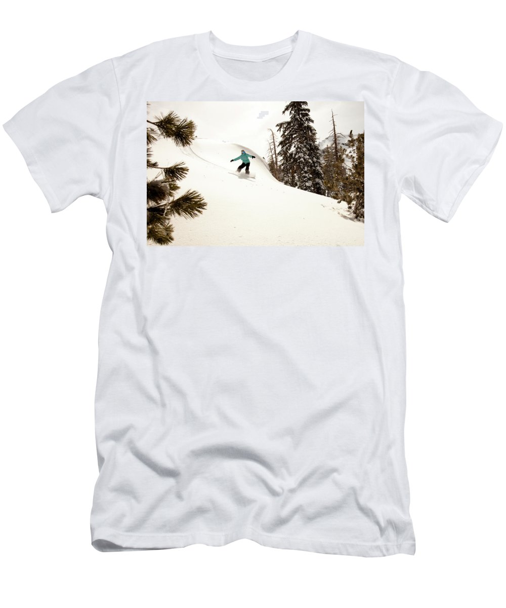 California Men's T-Shirt (Athletic Fit) featuring the photograph A Female Snowboarder Lays Out Some by Kyle Sparks