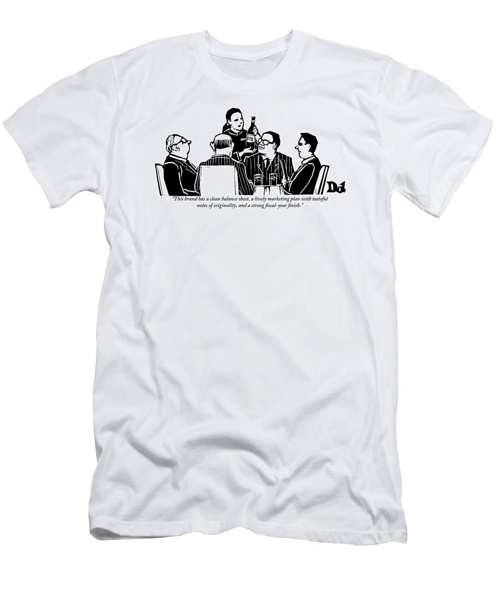 Businessmen T-Shirt featuring the drawing A Female Sommelier Presents A Bottle Of Wine by Drew Dernavich