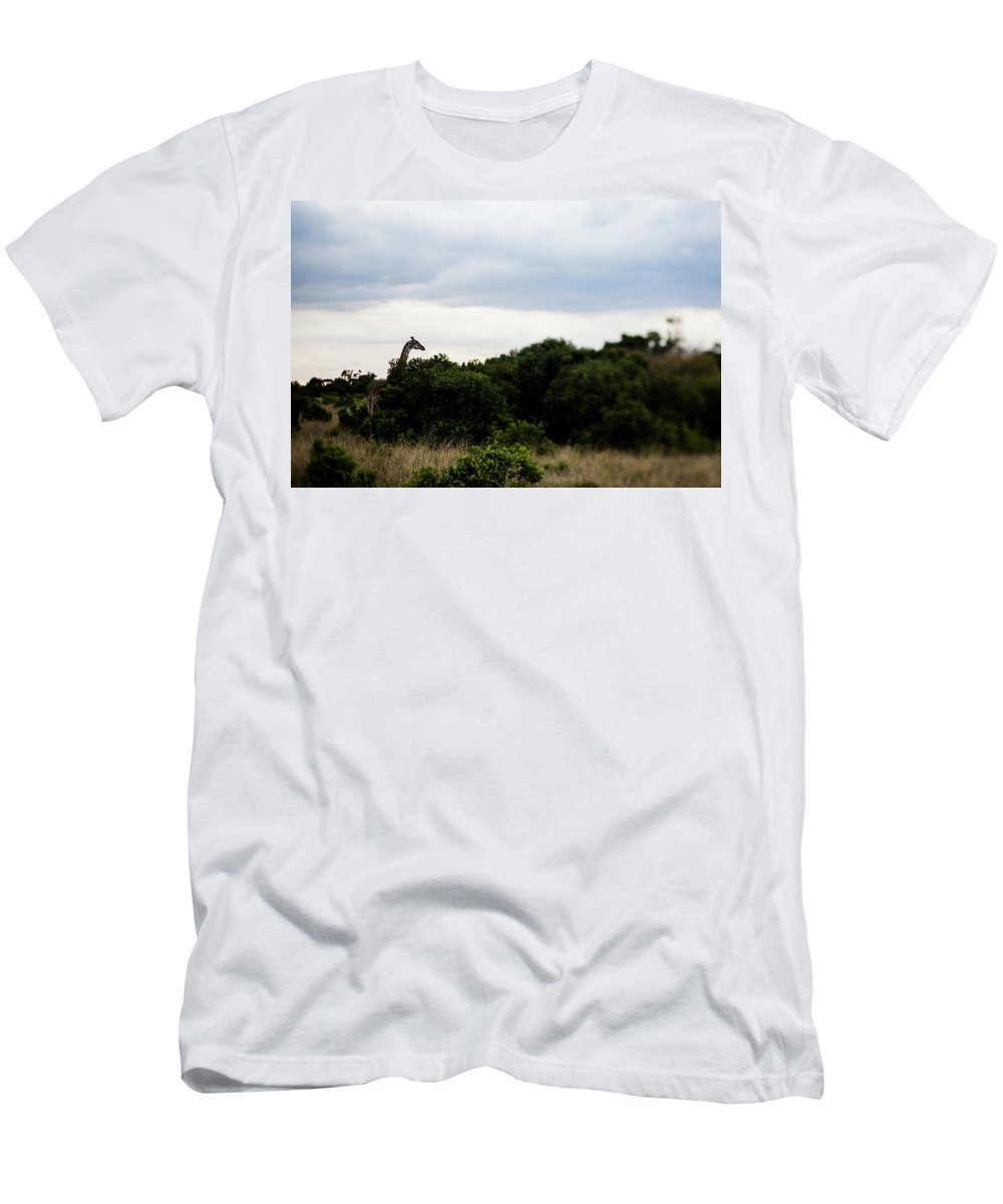 Animals In The Wild Men's T-Shirt (Athletic Fit) featuring the photograph A Giraffe Giraffa Camelopardalis Among by Aaron Joel Santos