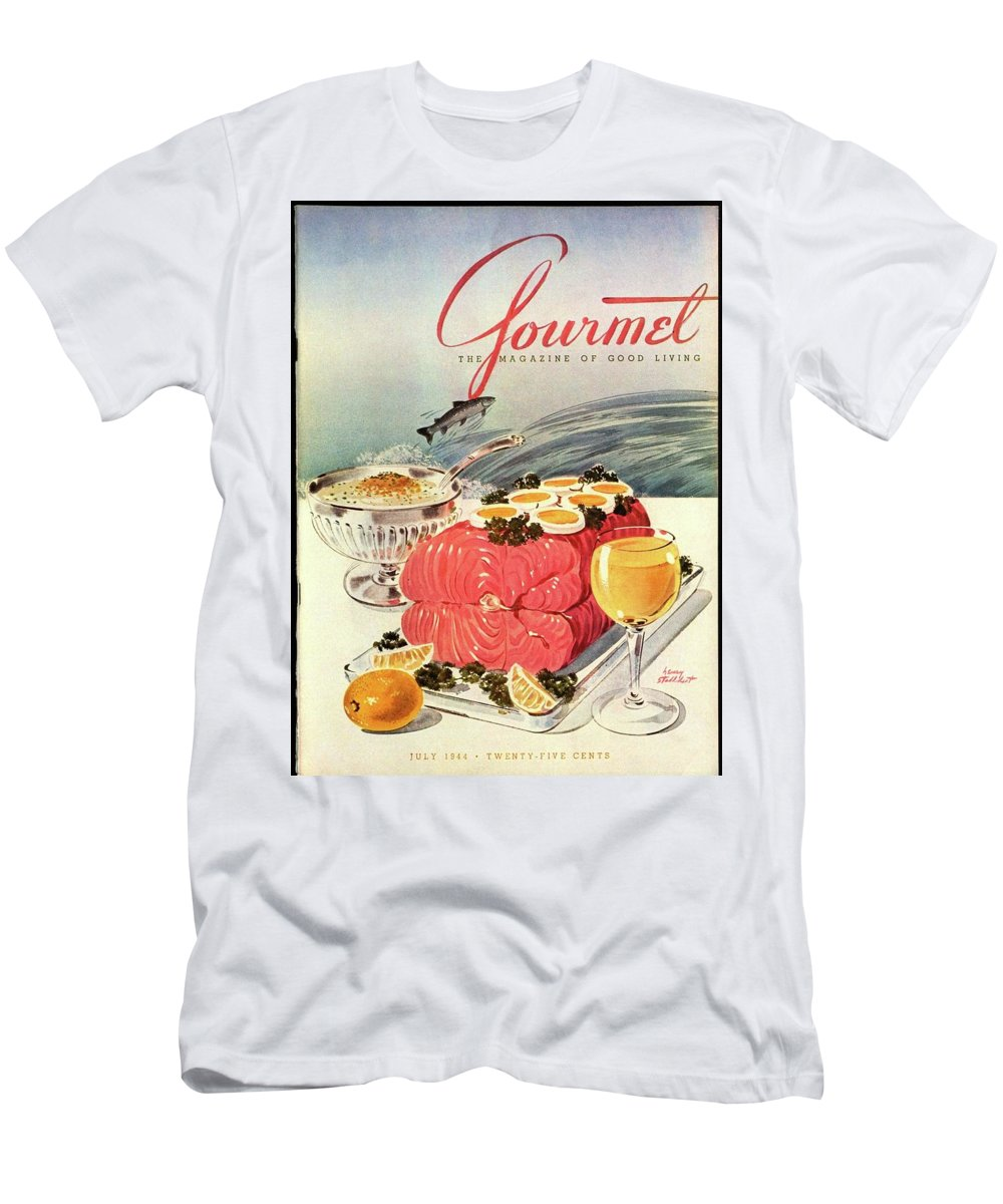 Food Men's T-Shirt (Athletic Fit) featuring the photograph A Gourmet Cover Of Poached Salmon by Henry Stahlhut