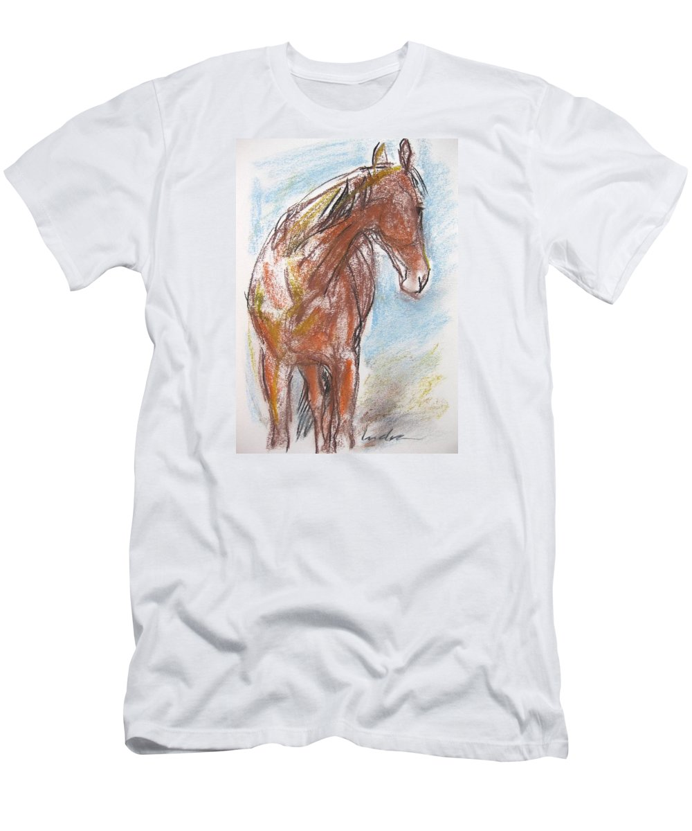Horse Men's T-Shirt (Athletic Fit) featuring the drawing A Horse Looks Back by Indra Singh