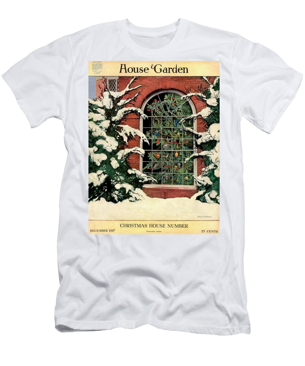 Illustration T-Shirt featuring the photograph A House And Garden Cover Of A Christmas Tree by Ethel Franklin Betts Baines