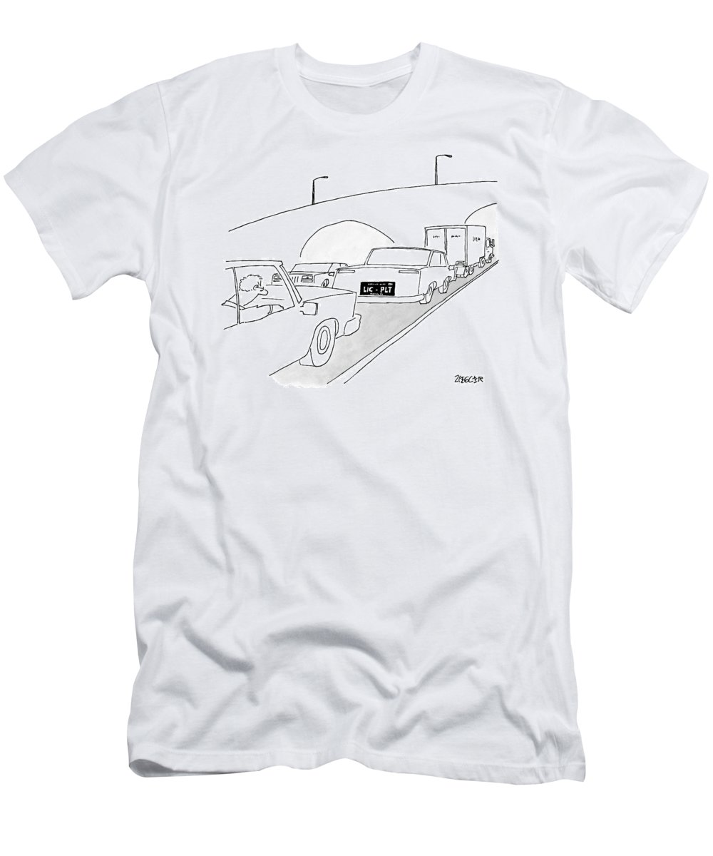 Captionless T-Shirt featuring the drawing A License Plate That Reads  Lic-plt by Jack Ziegler