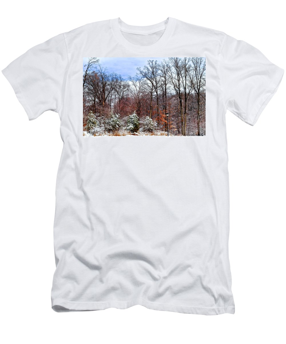 Snow Men's T-Shirt (Athletic Fit) featuring the photograph A Light Dusting by Frozen in Time Fine Art Photography