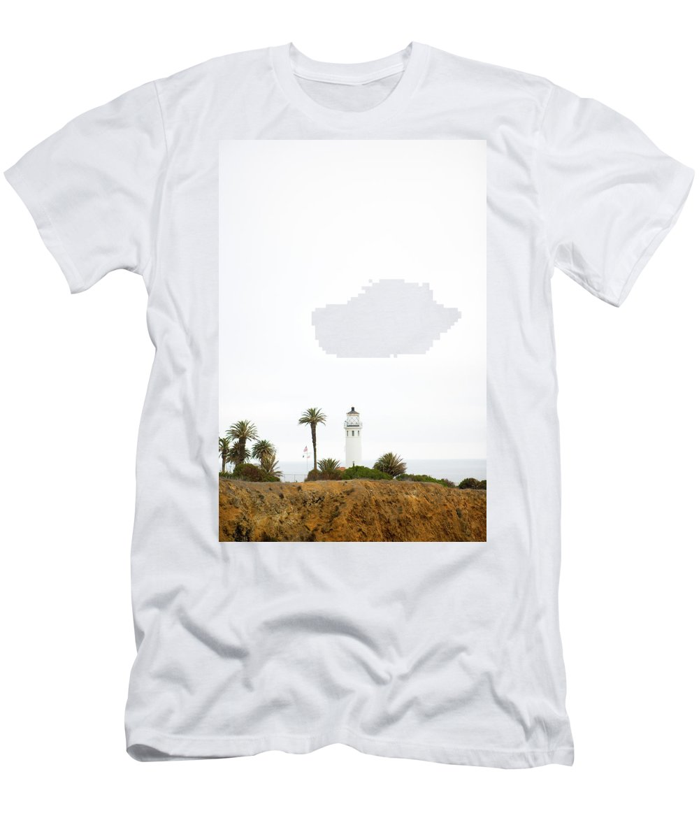 Beach Men's T-Shirt (Athletic Fit) featuring the photograph A Lighthouse On A Peninsula With Rocky by Ty Milford