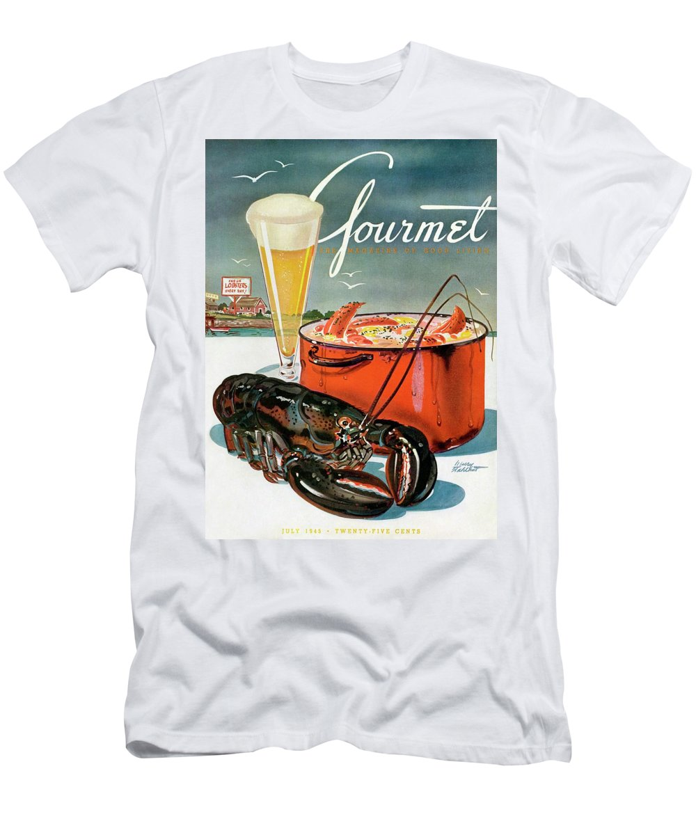 Illustration Men's T-Shirt (Athletic Fit) featuring the photograph A Lobster And A Lobster Pot With Beer by Henry Stahlhut