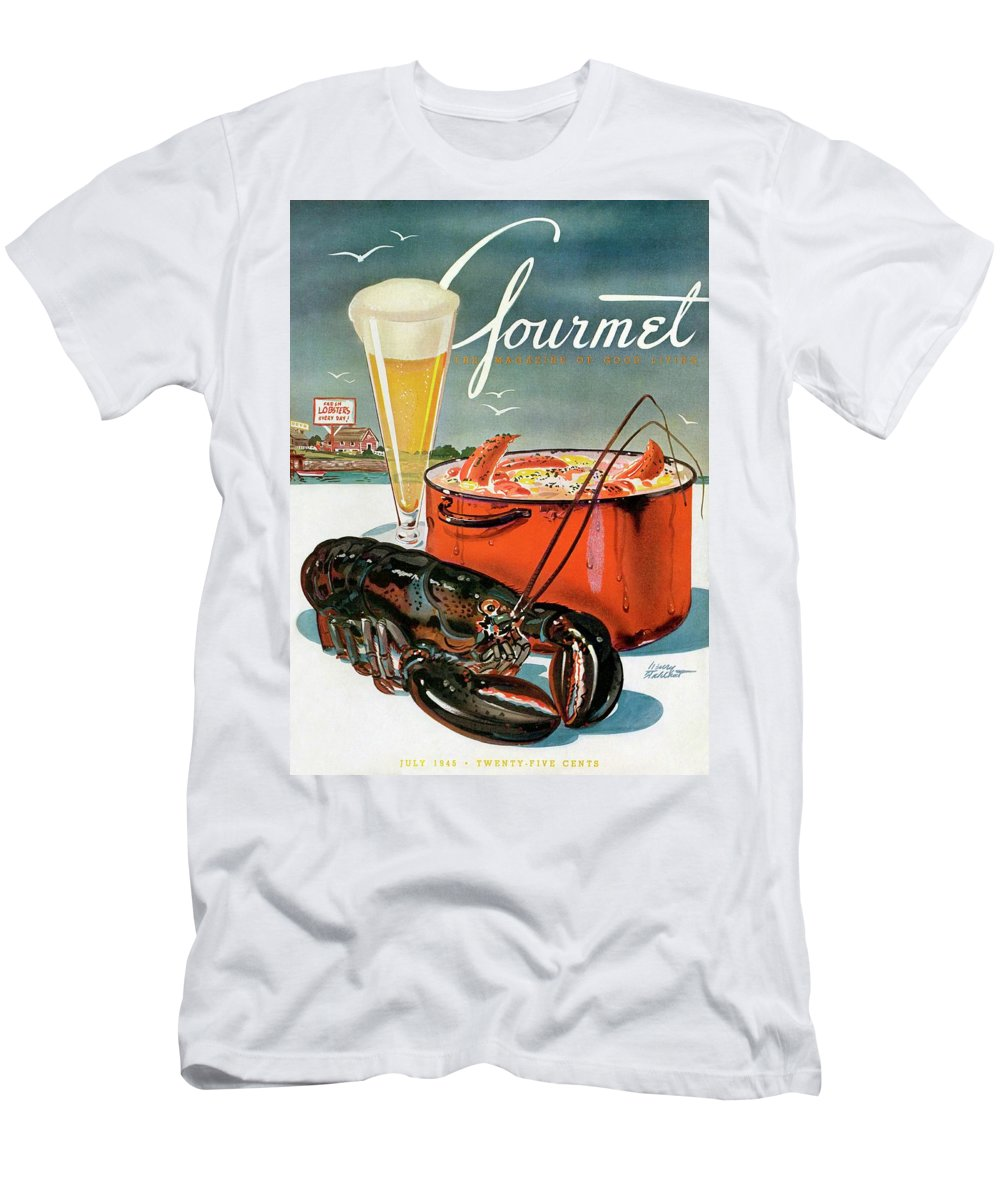 Illustration T-Shirt featuring the photograph A Lobster And A Lobster Pot With Beer by Henry Stahlhut