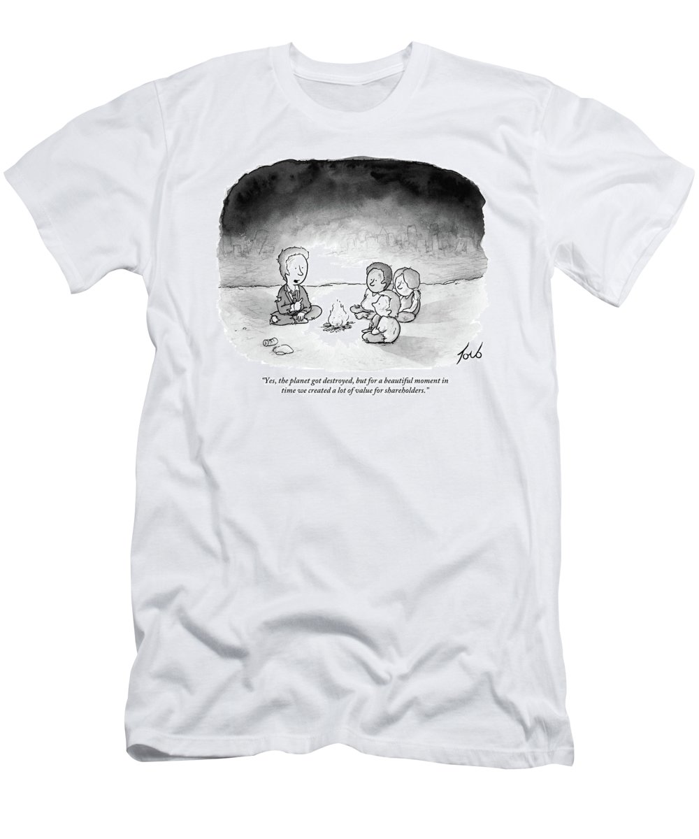 24c7d4220e82 A Man And 3 Children Sit Around A Fire T-Shirt for Sale by Tom Toro