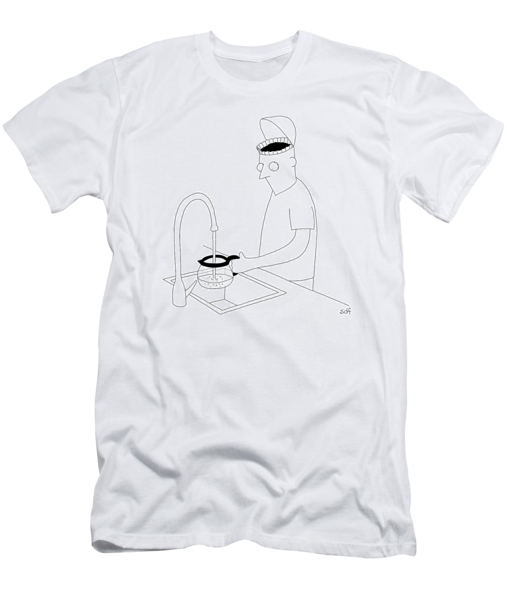 Coffee T-Shirt featuring the drawing A Man Filling Up His Coffee Pot by Seth Fleishman