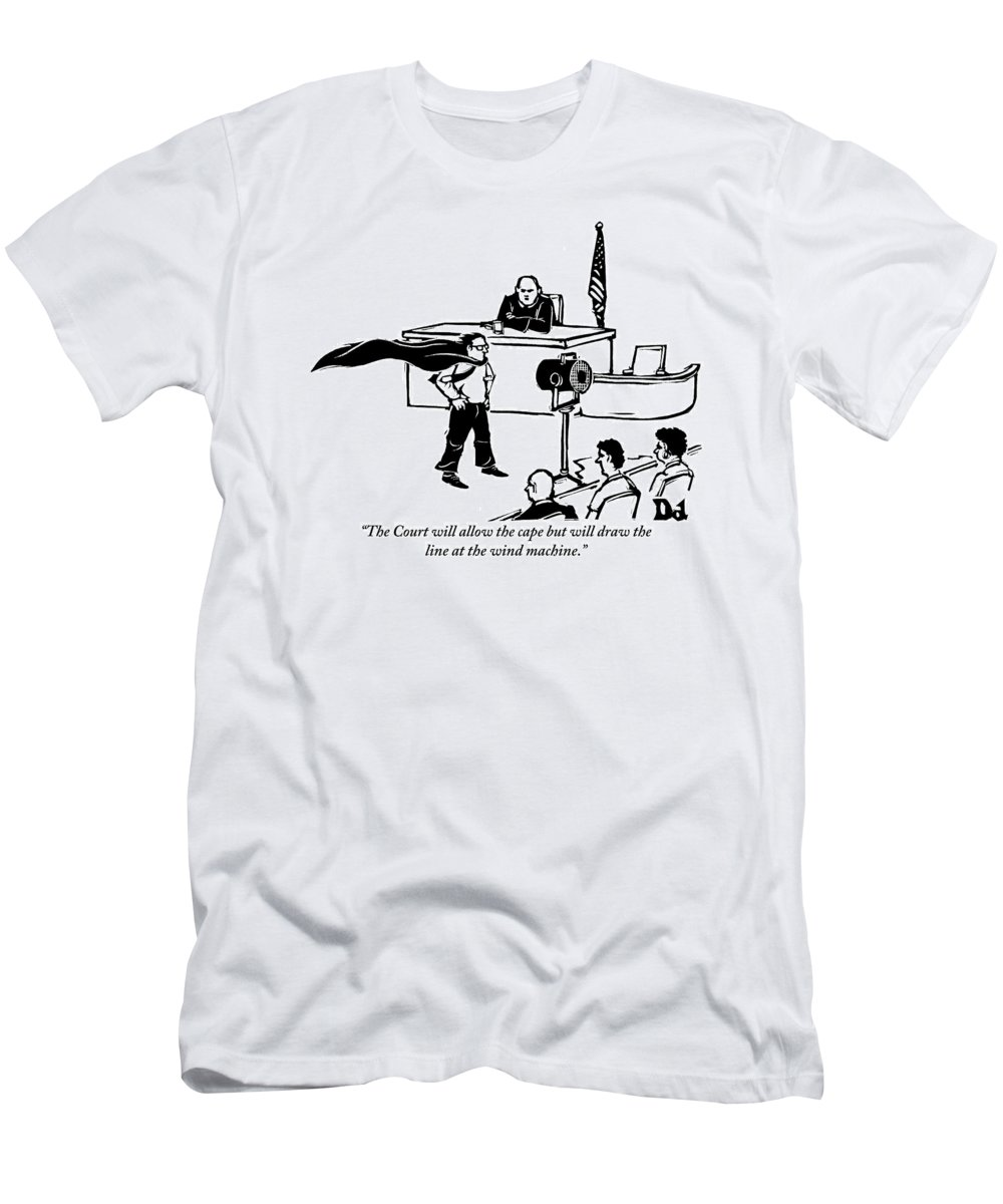 Law Men's T-Shirt (Athletic Fit) featuring the drawing A Man Is Seen Wearing A Cape Next To A Wind by Drew Dernavich