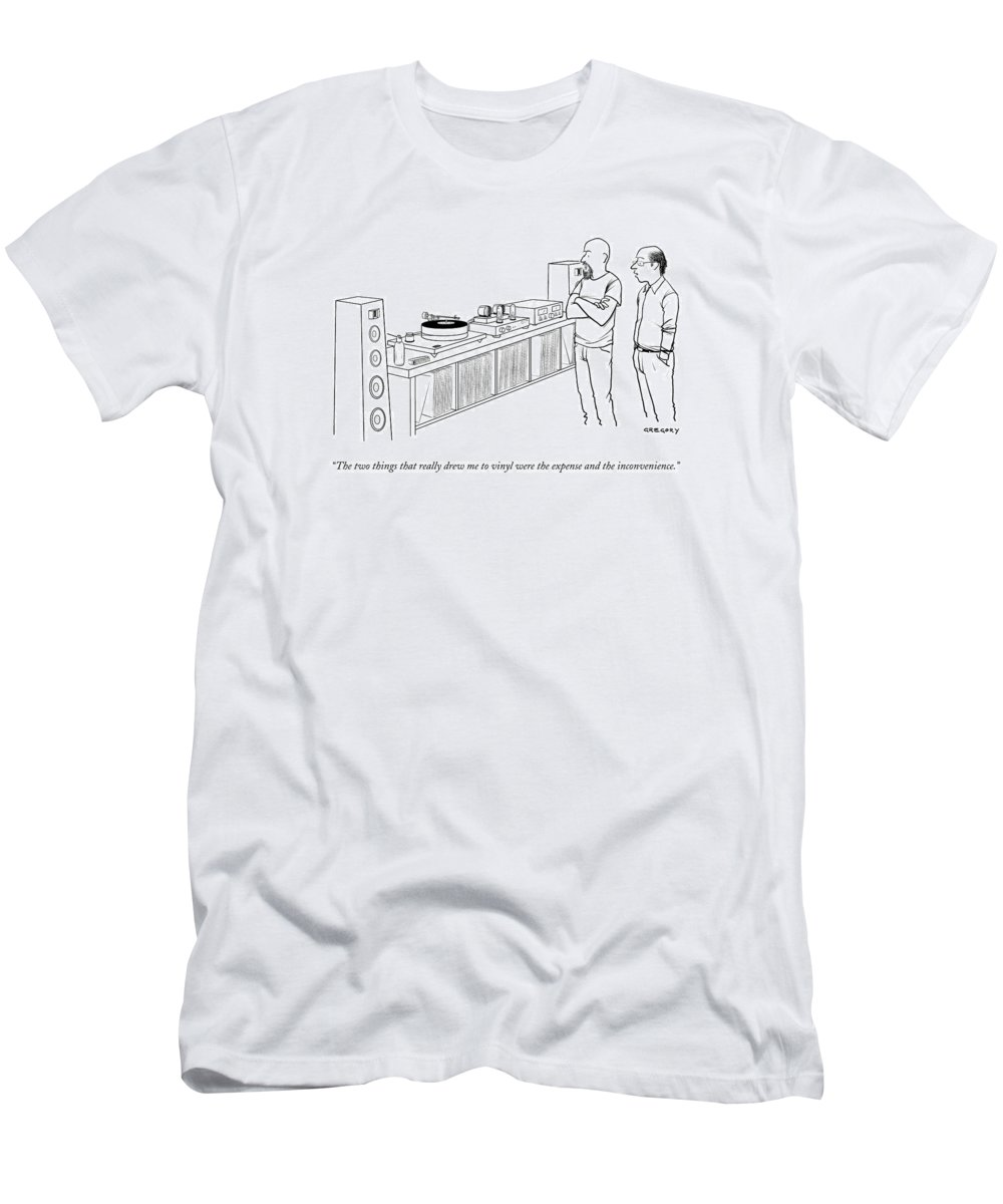 Records Men's T-Shirt (Athletic Fit) featuring the drawing A Man Shows Another Man His Extensive Collection by Alex Gregory