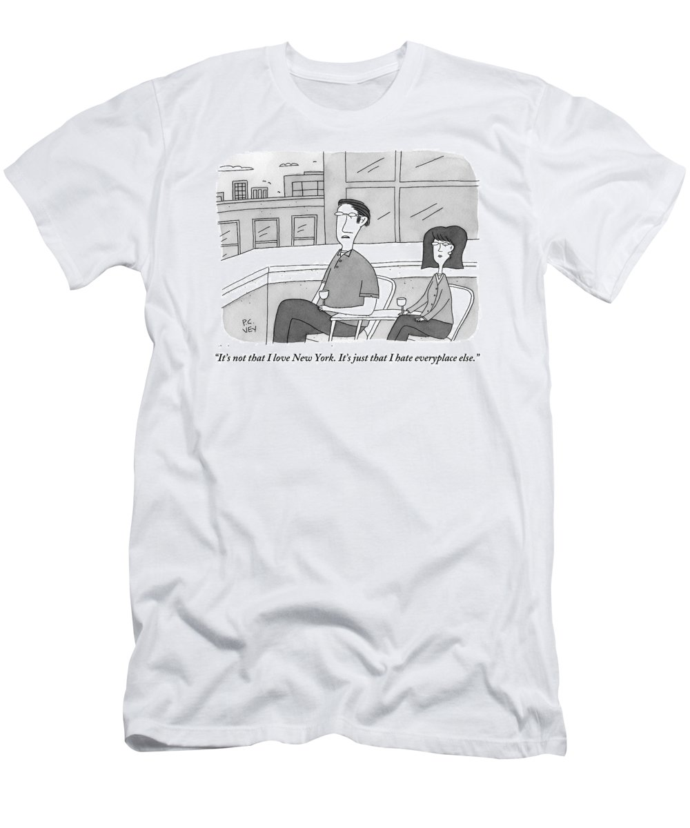 New York Men's T-Shirt (Athletic Fit) featuring the drawing A Man Speaks To A Woman On A Balcony In The City by Peter C. Vey