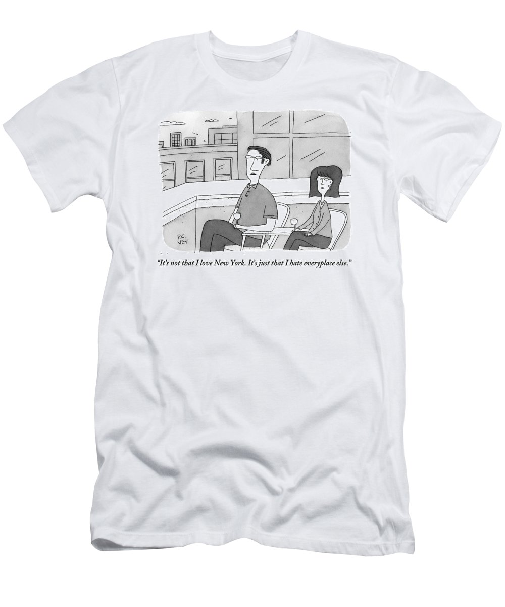 New York T-Shirt featuring the drawing A Man Speaks To A Woman On A Balcony In The City by Peter C. Vey