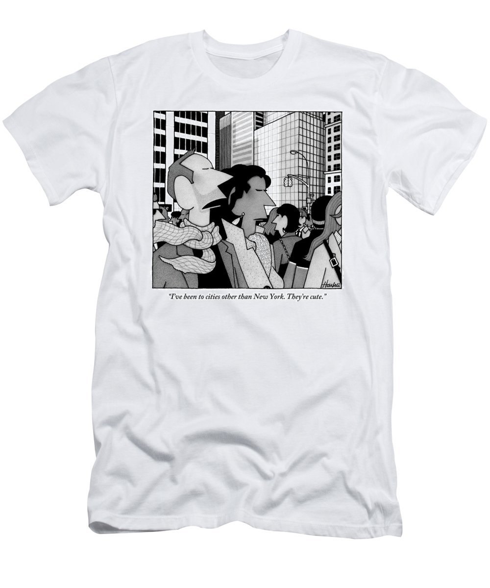New York City T-Shirt featuring the drawing A Man Speaks To His Wife In The Midst Of New York by William Haefeli