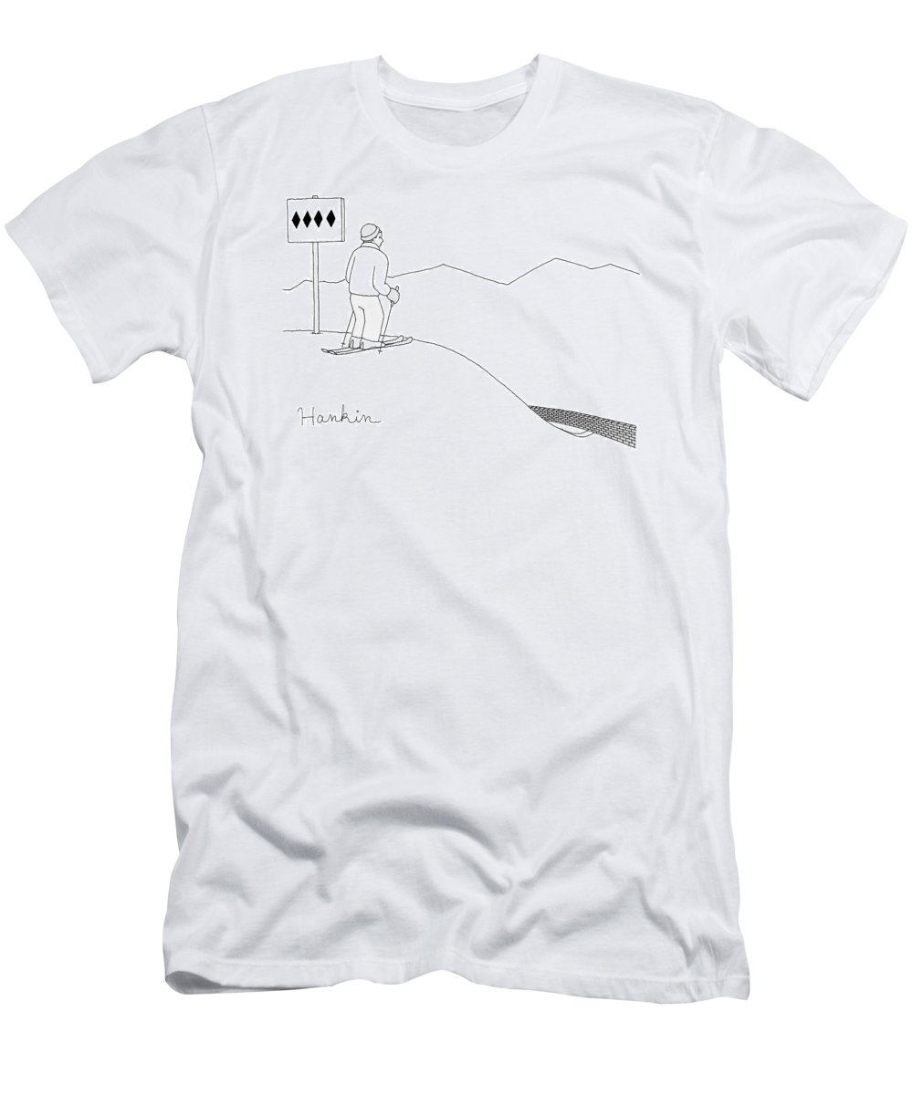 Captionless T-Shirt featuring the drawing A Man Stands At The Top Of A Ski Slope by Charlie Hankin