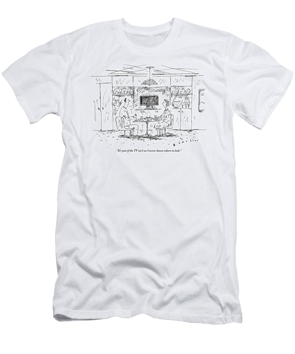 Tv Men's T-Shirt (Athletic Fit) featuring the drawing A Man To His Wife by Barbara Smaller