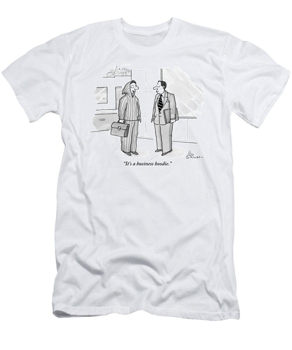 Men's Clothing Men's T-Shirt (Athletic Fit) featuring the drawing A Man Wearing A Hoodie Is Seen Speaking by Leo Cullum