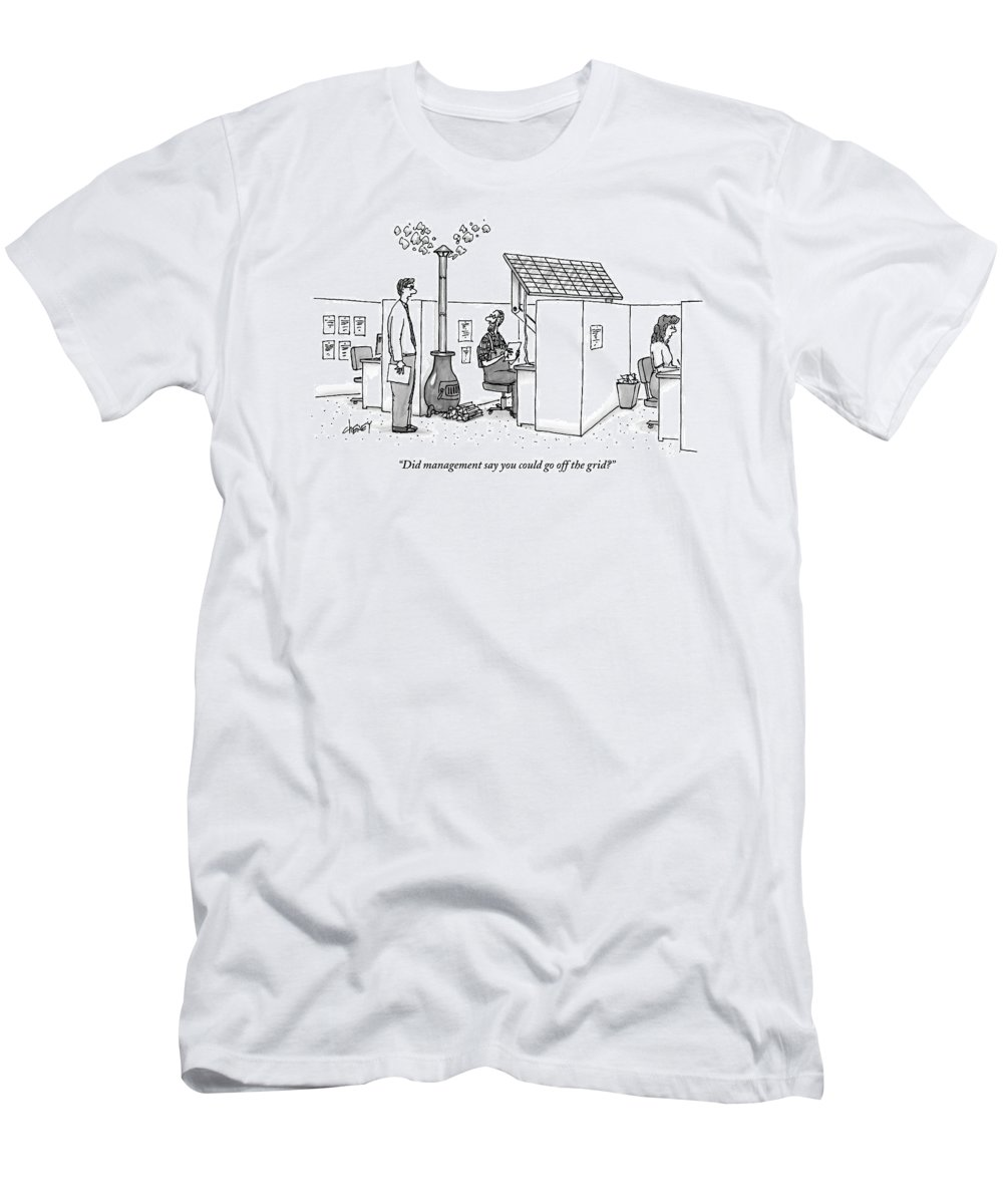 Solar Energy T-Shirt featuring the drawing A Man Wearing Overalls Has A Solar Panel Hooked by Tom Cheney