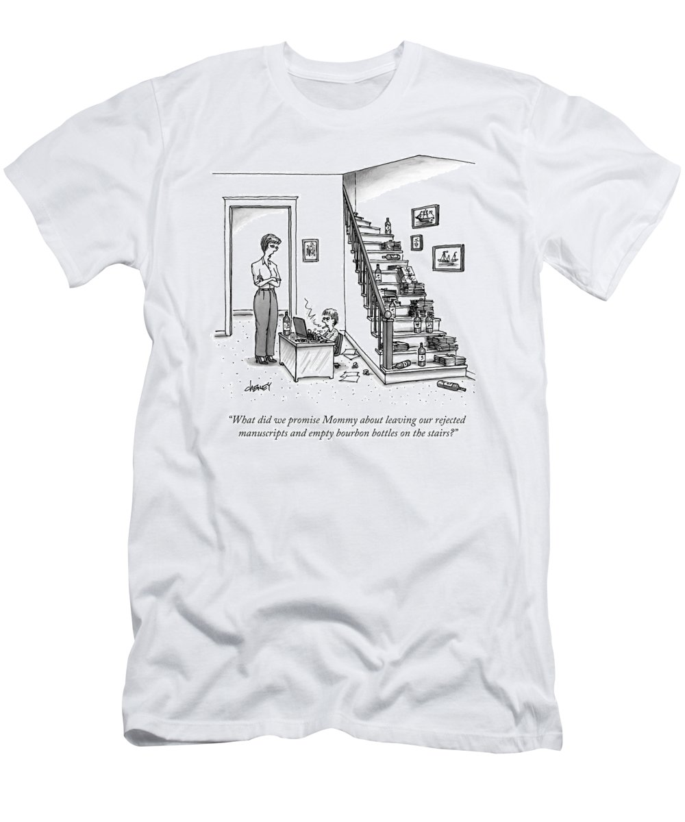 Writer T-Shirt featuring the drawing A Mother Speaks To Her Son by Tom Cheney