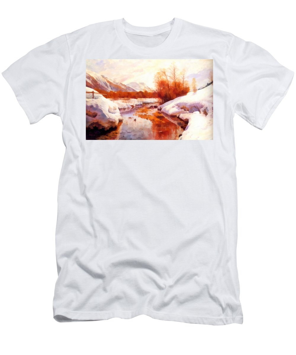 A Mountain Torrent In A Winter Landscape Men's T-Shirt (Athletic Fit) featuring the digital art A Mountain Torrent In A Winter Landscape by Peder Mork Monsted