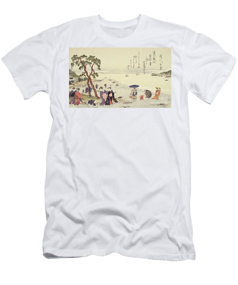 Landscape Men's T-Shirt (Athletic Fit) featuring the painting A Page From The Gifts Of The Ebb Tide by Kitagawa Utamaro