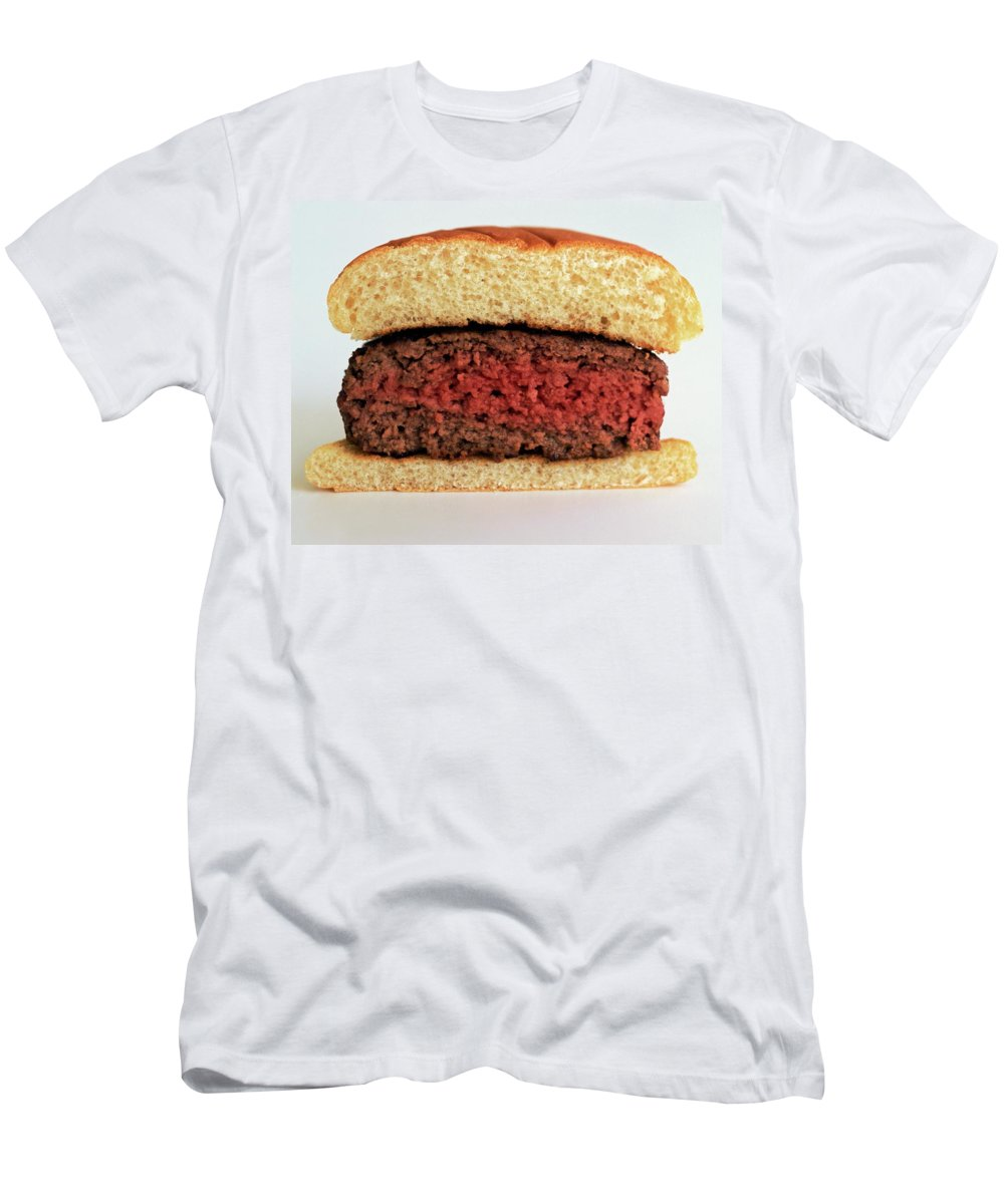 Cooking Men's T-Shirt (Athletic Fit) featuring the photograph A Rare Hamburger by Romulo Yanes